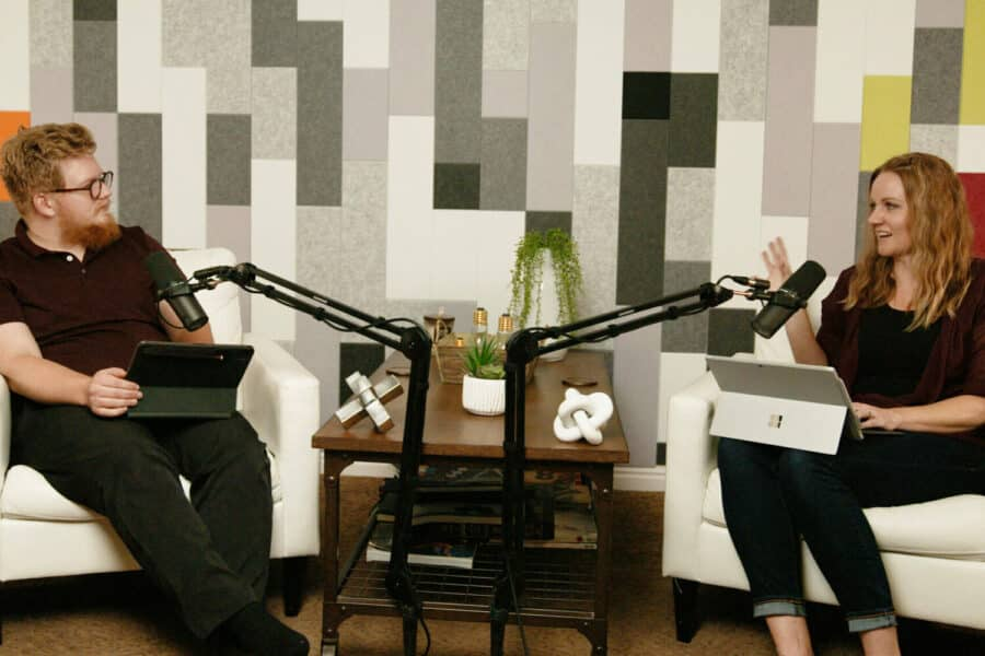 Two people recording a podcast at Light Child Media in Ogden, Utah